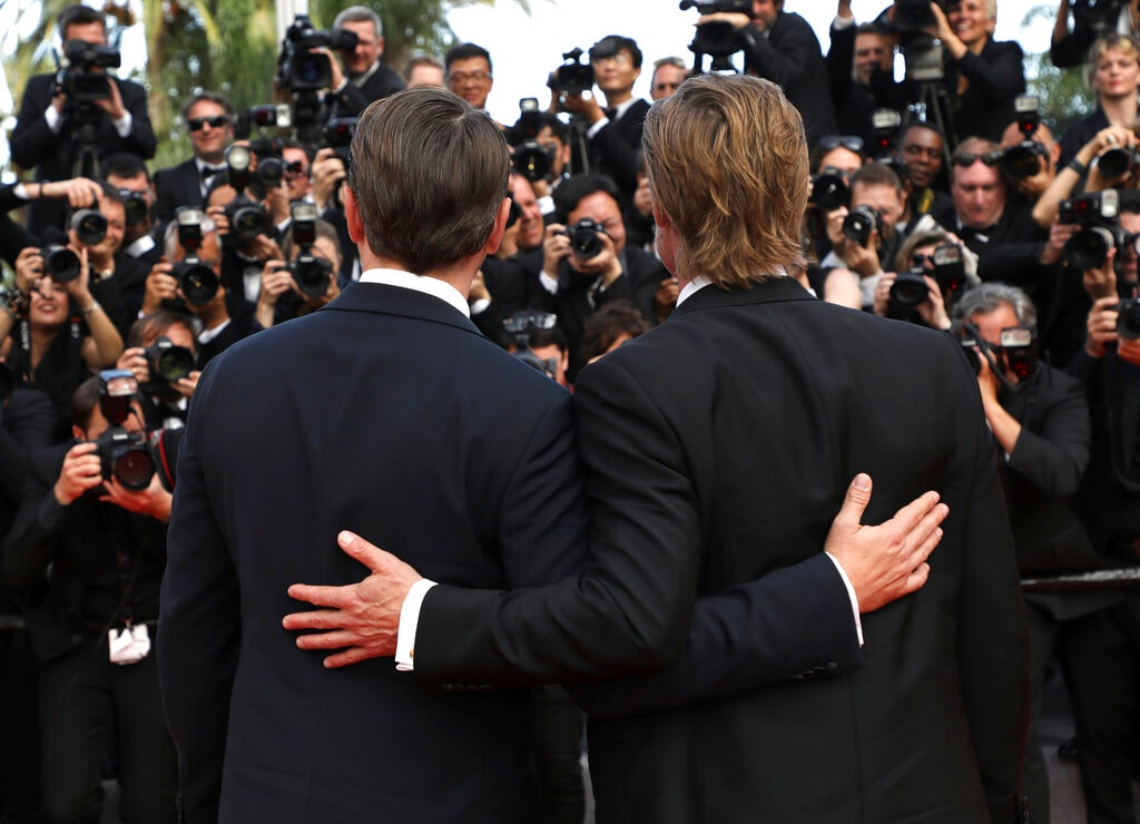 Actors Leonardo DiCaprio, left, and Brad Pitt pose for photographers upon arrival at the premiere of the film 'Once Upon a Time in Hollywood' at the 72nd international film festival, Cannes, southern France, Tuesday, May 21, 2019. (Photo by Vianney Le Caer/Invision/AP)