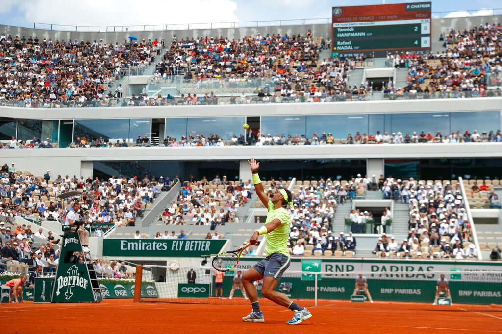 Spain's Rafael Nadal serves against Germany's Yannick Hanfmann during their first round match of the French Open tennis tournament at the Roland Garros stadium in Paris, Monday, May 27, 2019. (AP Photo/Pavel Golovkin)