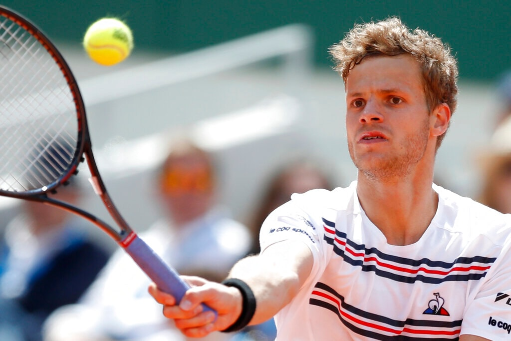 Germany's Yannick Hanfmann plays a shot against Spain's Rafael Nadal during their first round match of the French Open tennis tournament at the Roland Garros stadium in Paris, Monday, May 27, 2019. (AP Photo/Pavel Golovkin)