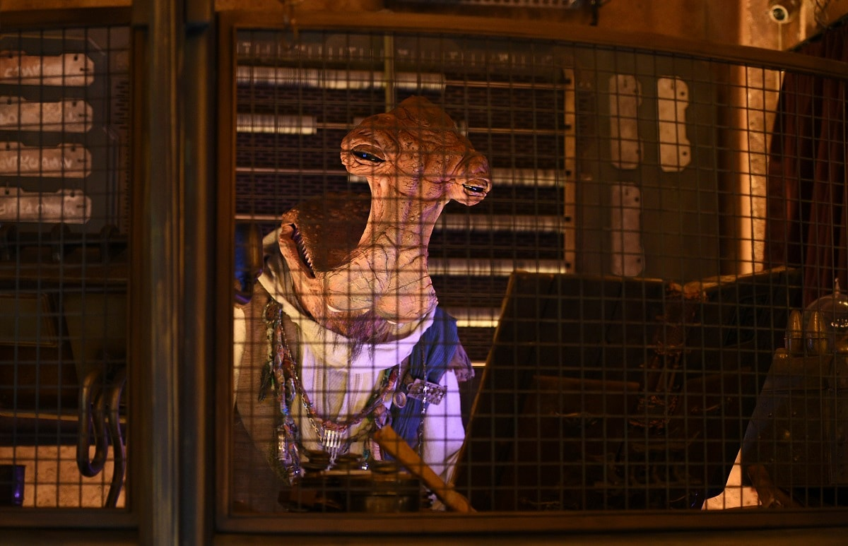 An animatronic Dok-Ondor character watches over the Dok-Ondor's Den of Antiquities store during the Star Wars: Galaxy's Edge Media Preview. Disney officials said it took more the five years to develop and finish the attraction. (Photo by Chris Pizzello/Invision/AP)