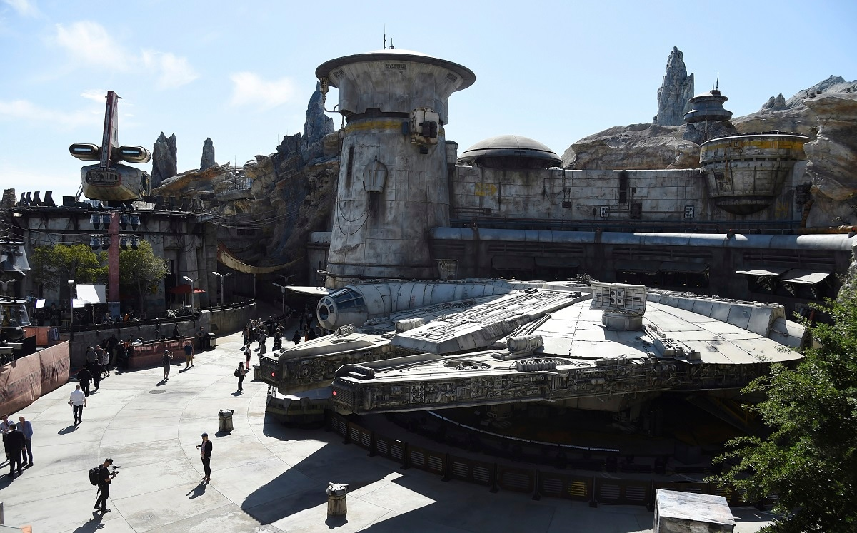 A replica of the Millennium Falcon is pictured during the Star Wars: Galaxy's Edge Media Preview at Disneyland Park. Galaxy's Edge is an adventure through the grungy planet Batuu, a remote world in the newest