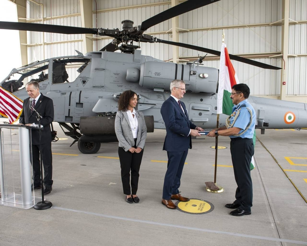 Air Marshal AS Butola, represented the IAF and accepted the first Apache in a ceremony at Boeing production facility, representatives from US government were also present. (Image credit: IAF Facebook page)