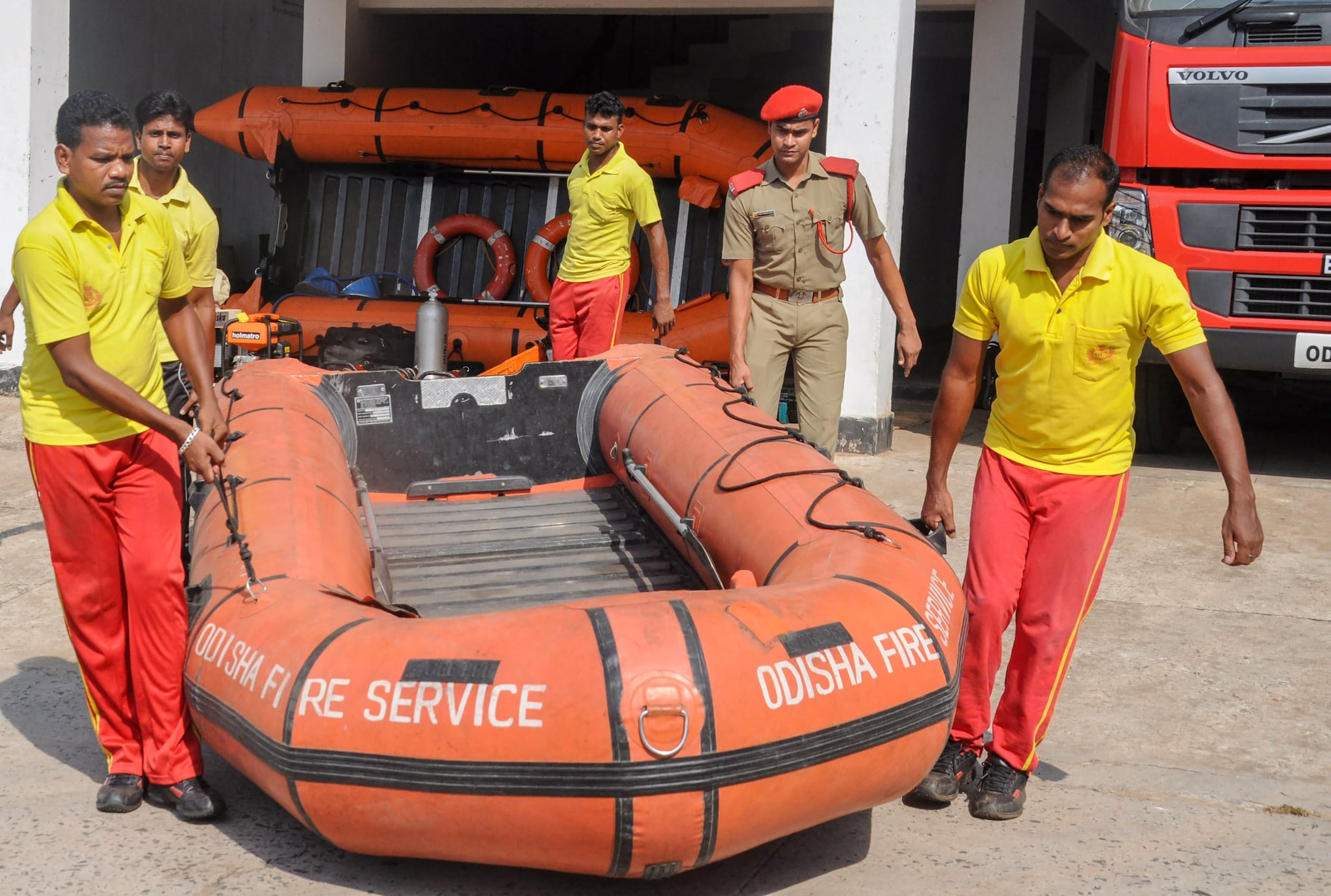 Odisha Fire Service and Disaster Response personnel prepare for emergencies in view of Cyclone Fani, which may hit the Odisha coast by Friday, in Bhubaneswar, Tuesday, April 30, 2019. (PTI Photo)