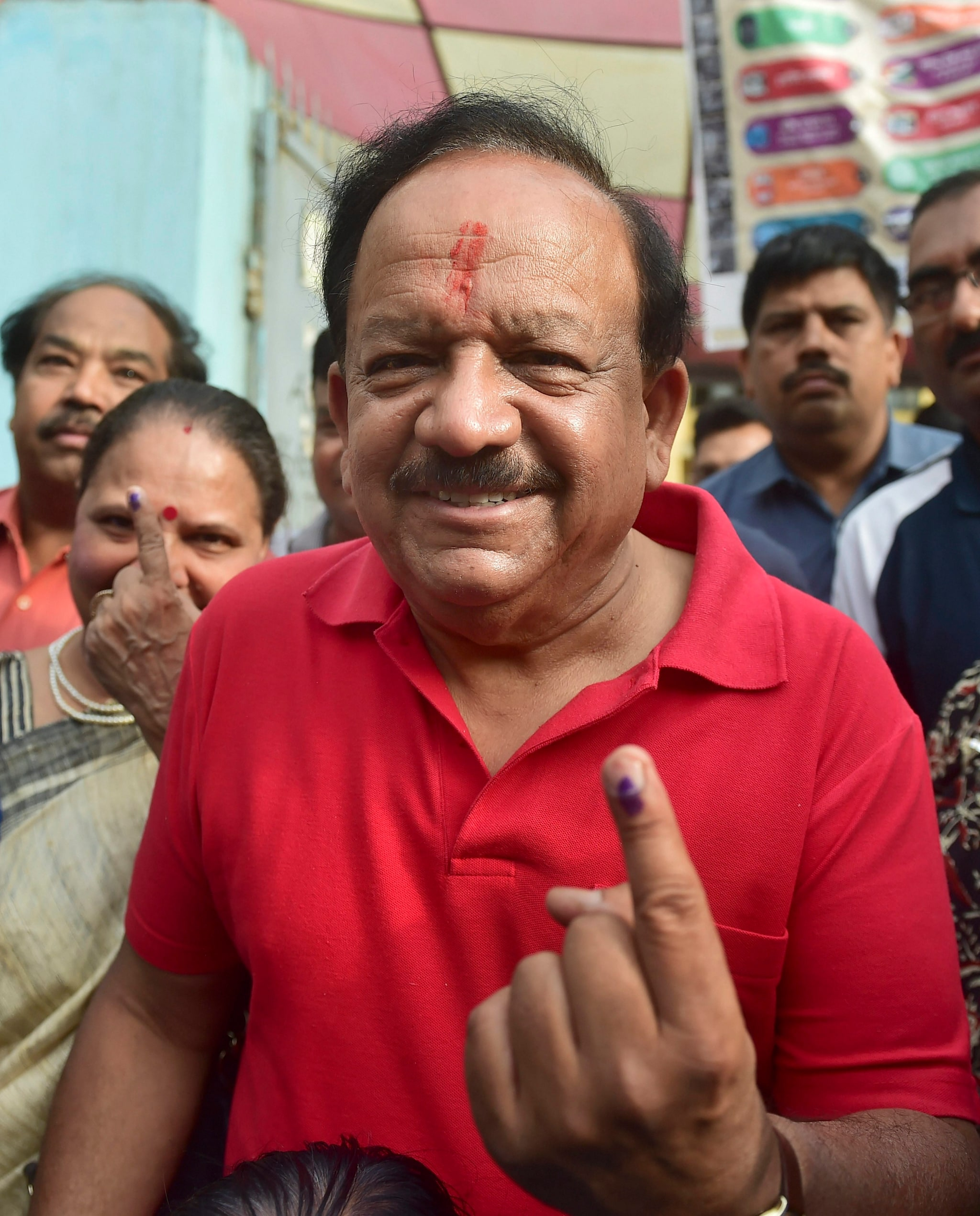BJP's candidate from Chandni Chowk Harsh Vardhan, after casting his vote.