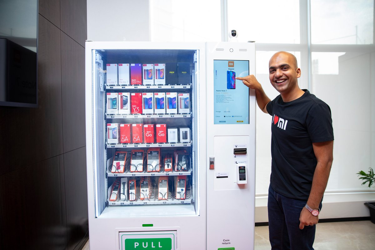 Called as 'Mi Express Kiosk', these vending machines will allow consumers to make purchases and pay for the transaction through credit or debit cards, cash and UPI. (Image credit: Mi India Twitter)