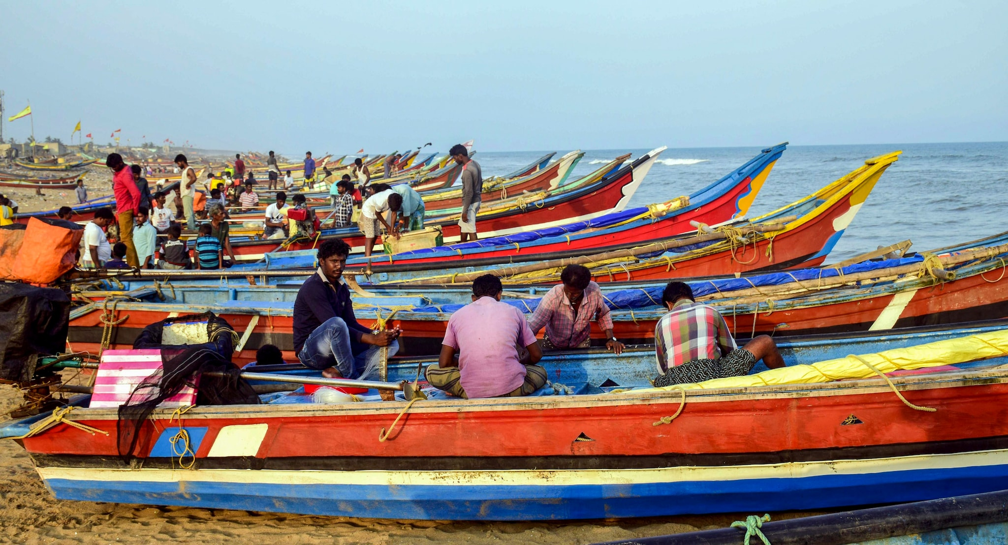 Fishermen anchor their boats after they were advised not to venture into the sea in the view of cyclonic storm 'Fani', near Penthakata in Puri, Tuesday, April 30, 2019. (PTI Photo)