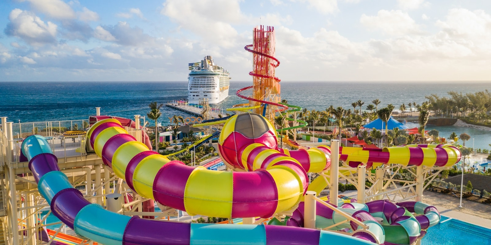The company spent $250 million on the island, installing features such as a 135-foot-tall waterslide and a 1,600-foot-long zipline course. Photo Courtesy-Royal Caribbean