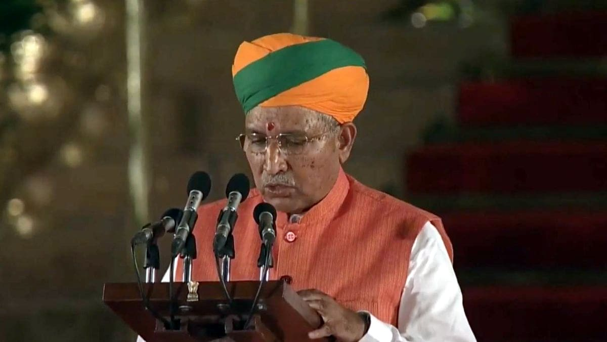 Bikaner BJP MP Arjun Ram Meghwal takes oath as Union Minister at a swearing-in ceremony at Rashtrapati Bhavan in New Delhi on May 30, 2019. He entered politics in 2009 after resigning from the Indian Administrative Service and won the seat on a BJP ticket the same year. (Photo: IANS)
