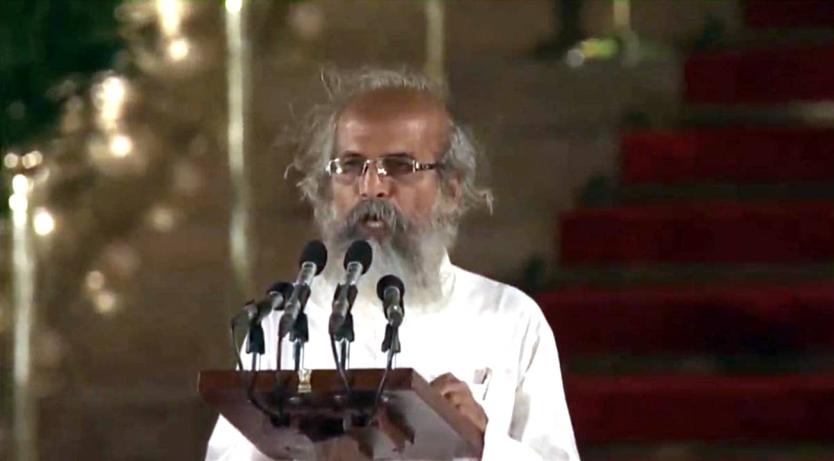 Balasore BJP MP Pratap Chandra Sarangi takes oath as Union Minister at a swearing-in ceremony at Rashtrapati Bhavan in New Delhi on May 30, 2019. (Photo: IANS)