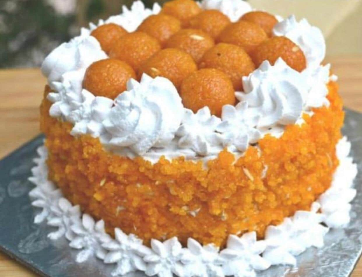 New Delhi: A view of the special ladoo cake weighing 7 kg ordered by the Delhi BJP office, at Bengali Pastry shop in New Delhi on May 22, 2019. The Delhi BJP has ordered nine similar ladoo cakes weighing 4-5 kgs for the counting day.