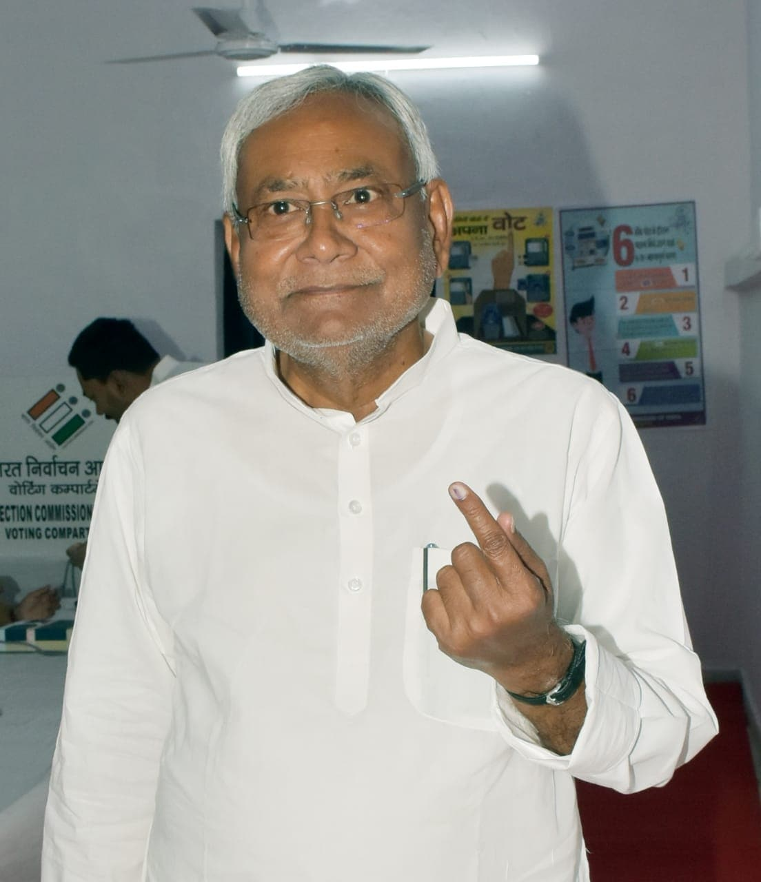 Patna: Bihar Chief Minister Nitish Kumar shows his forefinger marked with indelible ink after casting vote during the seventh and the last phase of 2019 Lok Sabha Elections at a polling booth in Patna on May 19, 2019. (Photo: IANS)