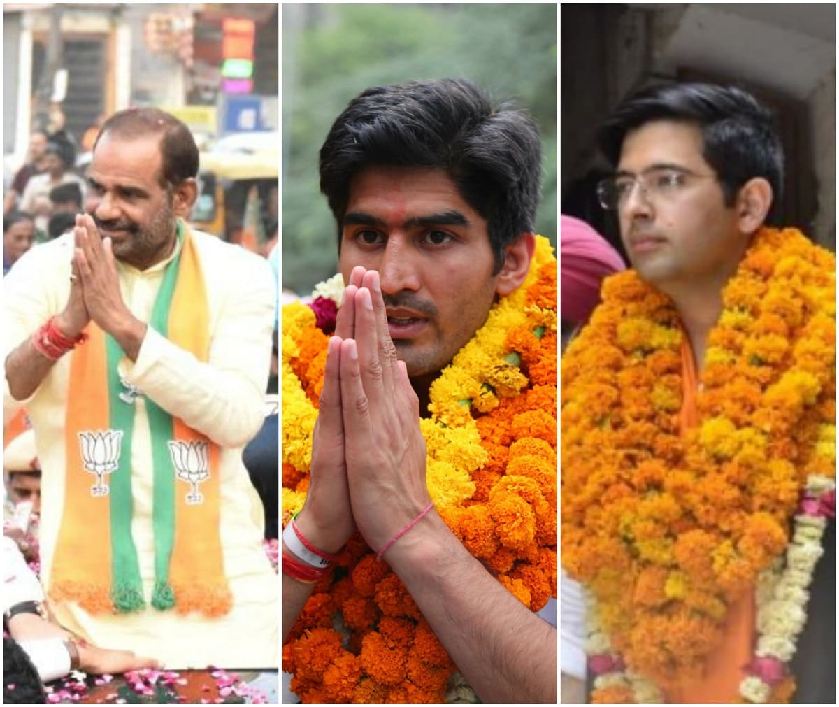 <strong>South Delhi:</strong> Congress candidate Olympic medal winning pugilist Vijender Singh is taking on BJP's seasoned Lok Sabha MP Ramesh Bidhuri and AAP's Raghav Chadha in a constituency with mix of rural and urban voters. Jats and Gujjars along with Poorvanchalis, who hail from eastern UP and Bihar, make a large chunk of 20.67 lakh voters in the constituency. In 2014, Bidhuri, a Gujjar, managed to win against AAP's Devinder Sehrawat (he recently joined BJP) by a margin of over 1.07 lakh votes. Congress' Ramesh Kumar (brother of Sajjan Kumar) was pushed to a distant third. ( Image courtesy: Twitter, IANS&amp; Facebook)