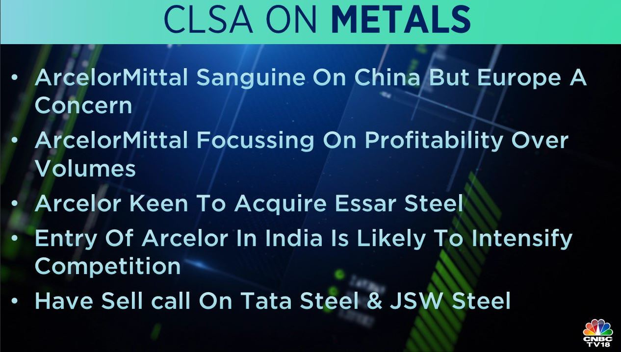 <strong>CLSA on Metal Companies:</strong> The brokerage has 'sell' calls on Tata Steel and JSW Steel in the metals space. It added that the entry of ArcelorMittal in India is likely to intensify competition.