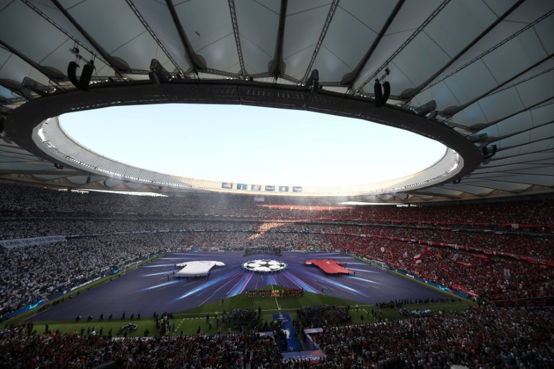 Atletico Madrid's home ground Wanda Metropolitano is all decked up for the 2019 Champions League final between Tottenham Hotspur and Liverpool. (Reuters)