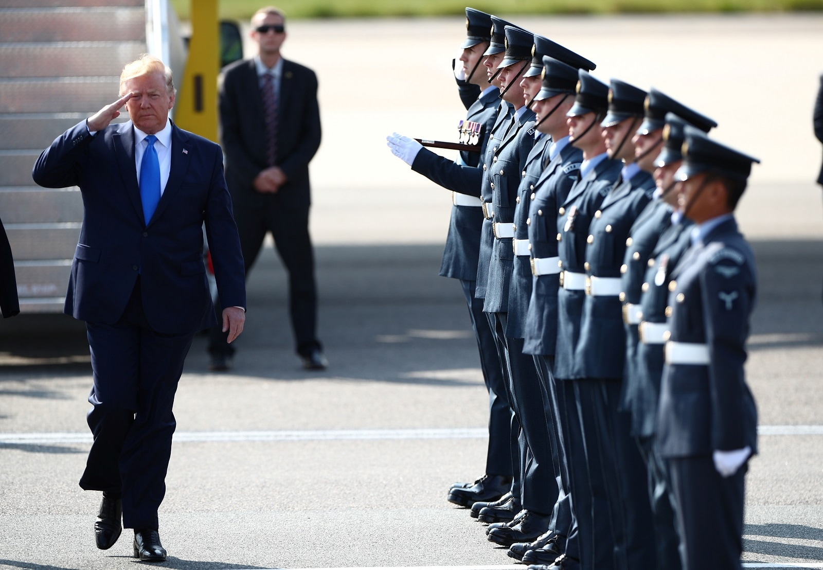 US President Donald Trump arrives for his state visit to Britain, at Stansted Airport near London, Britain, June 3, 2019. REUTERS/Hannah McKay
