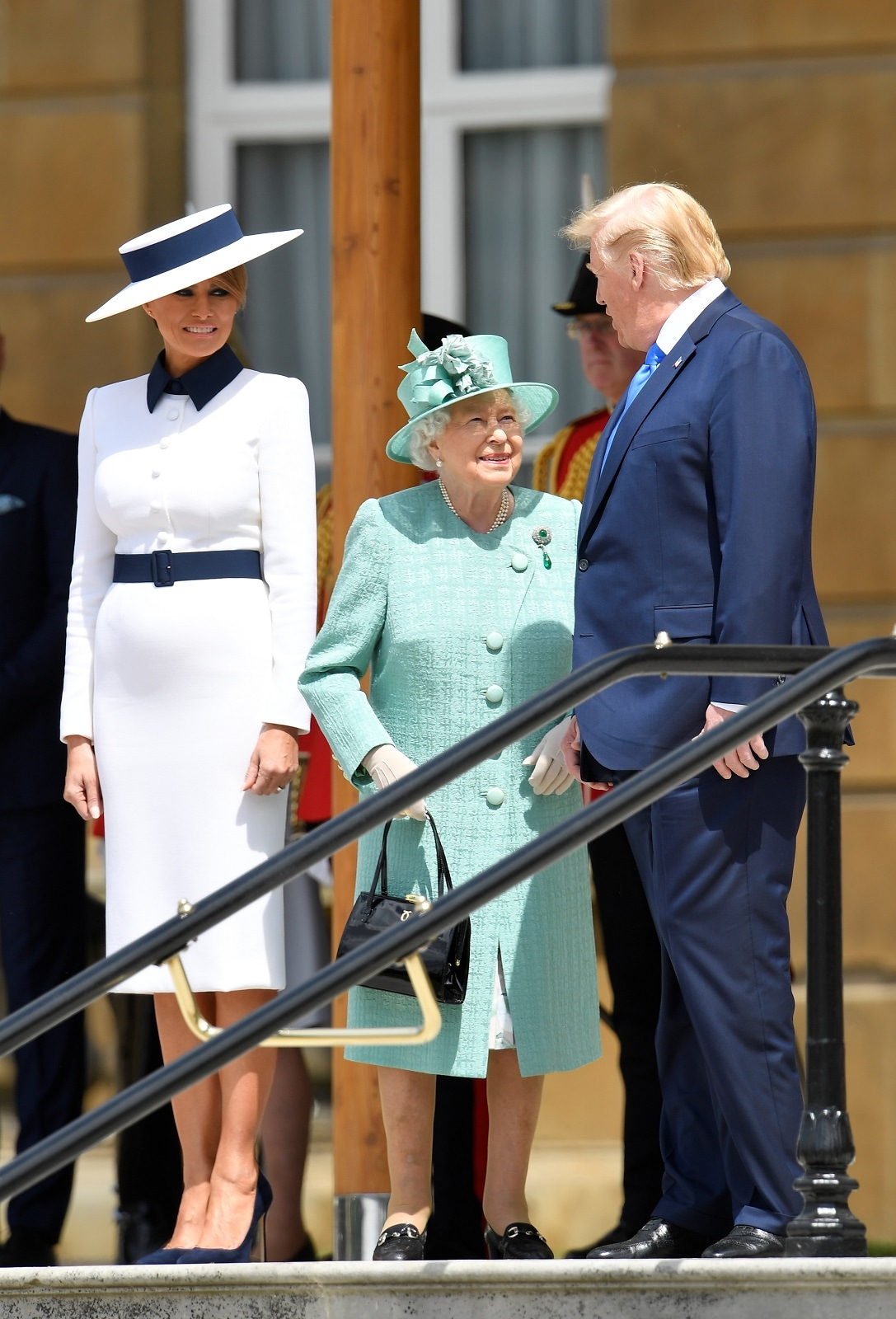US President Donald Trump and First Lady Melania Trump meet with Britain's Queen Elizabeth at Buckingham Palace, in London, Britain, June 3, 2019. REUTERS/Toby Melville/Pool