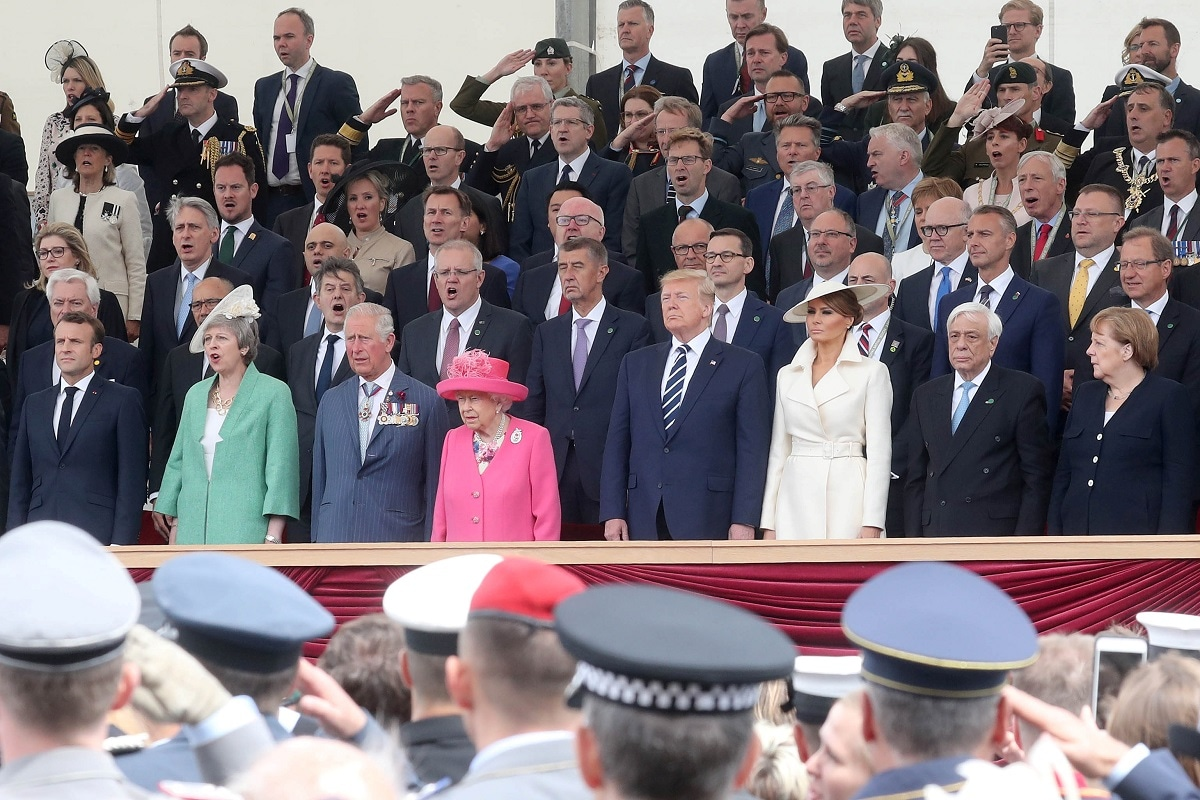 French President, Emmanuel Macron, British Prime Minister, Theresa May, Prince Charles, Prince of Wales, Queen Elizabeth II, US President Donald Trump, First Lady of US Melania Trump, President of Greece, Prokopis Pavlopoulos and Chancellor of Germany, Angela Merkel attend the D-day 75 Commemorations event in Portsmouth, Britain. Chris Jackson/Pool via Reuters