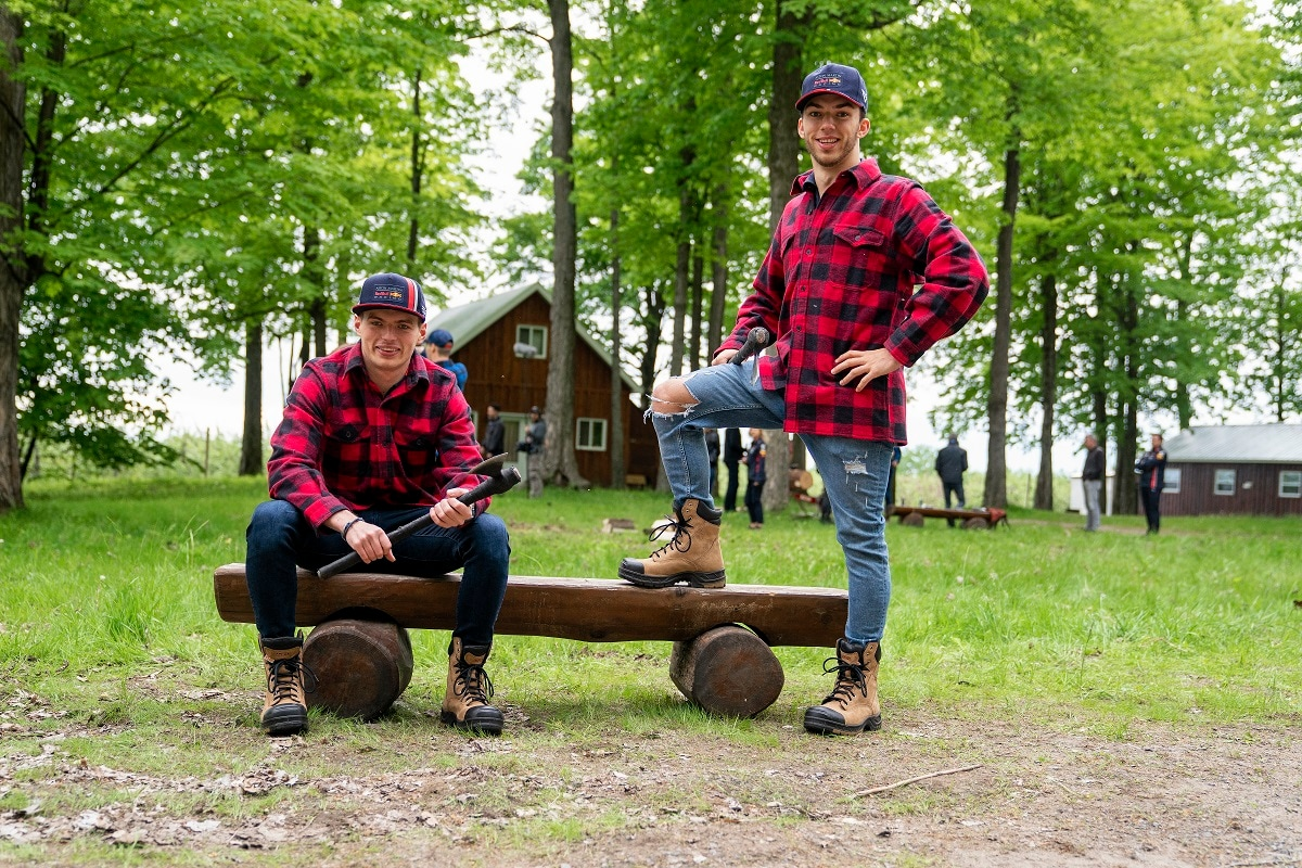 Max Verstappen and Pierre Gasly pose for a portrait during a logger sports session in Montreal. Daniel Mathieu / Red Bull Content Pool