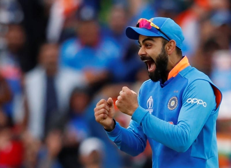 Cricket - ICC Cricket World Cup - India v Australia - The Oval, London, Britain - June 9, 2019 India's Virat Kohli celebrates as India win the match Action Images via Reuters/Andrew Boyers