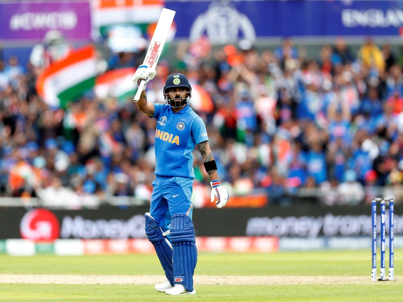 Cricket - ICC Cricket World Cup - India vs Pakistan - Emirates Old Trafford, Manchester, Britain - June 16, 2019 India's Virat Kohli celebrates his 50 Action Images via Reuters/Lee Smith
