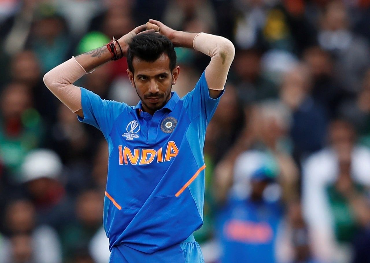 Cricket - ICC Cricket World Cup - India v Pakistan - Emirates Old Trafford, Manchester, Britain - June 16, 2019 India's Yuzvendra Chahal reacts Action Images via Reuters/Andrew Boyers