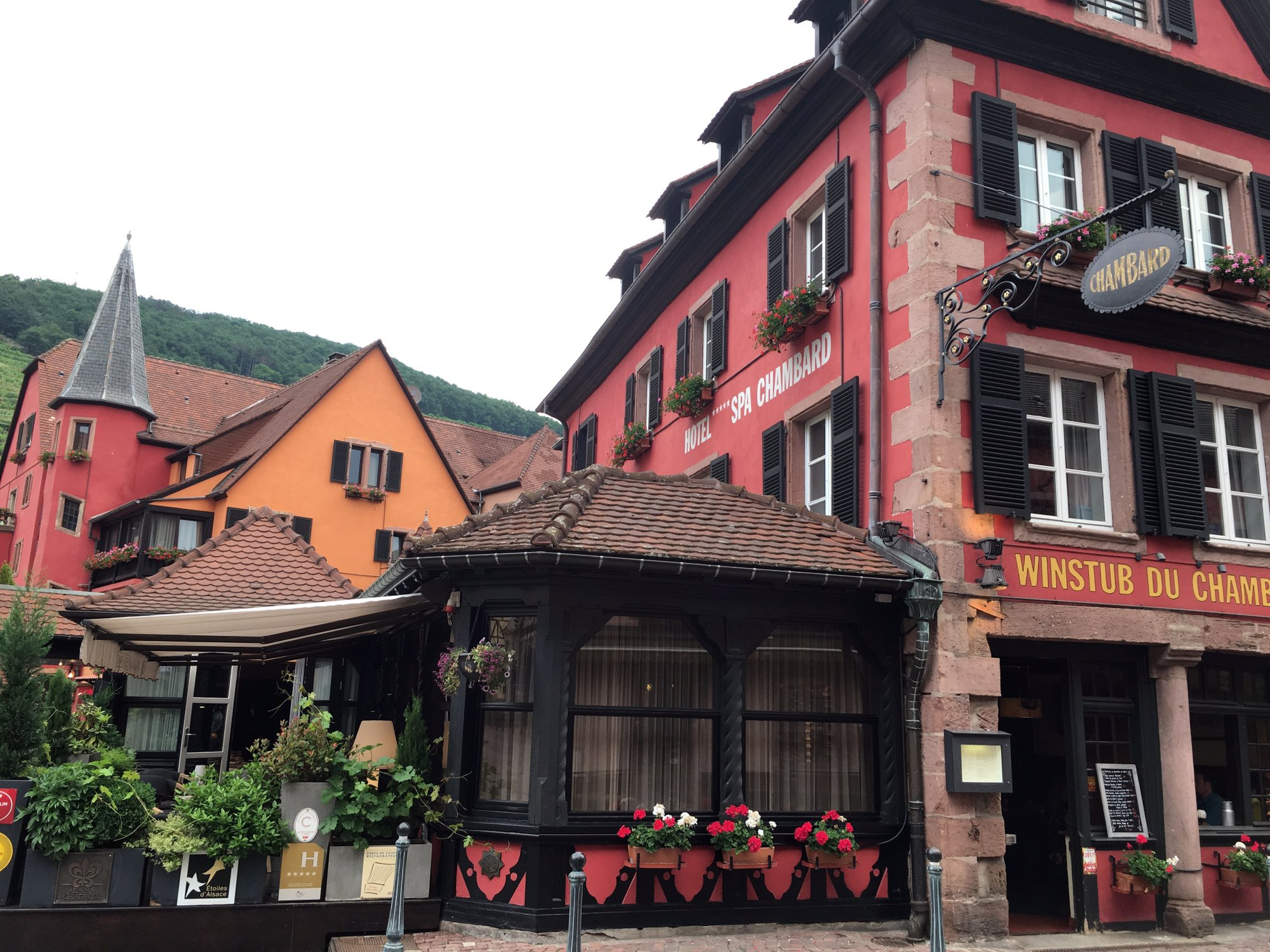 A general view of the Le Chambard hotel where TV chef Anthony Bourdain was found, in Kaysersberg, France, Friday, June 8, 2018. A prosecutor in France says Anthony Bourdain apparently hanged himself in a luxury hotel in the small town of Kaysersberg. French media quoted Colmar prosecutor Christian de Rocquigny du Fayel as saying that