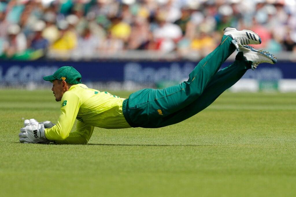 South Africa's Quinton de Koc catches out Bangladesh's Soumya Sarkar during the Cricket World Cup match between South Africa and Bangladesh at the Oval in London, Sunday, June 2, 2019. (AP Photo/Matt Dunham)