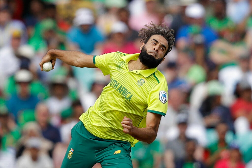 South Africa's Imran Tahir pitches a delivery during the Cricket World Cup match between South Africa and Bangladesh at the Oval in London, Sunday, June 2, 2019. (AP Photo/Matt Dunham)