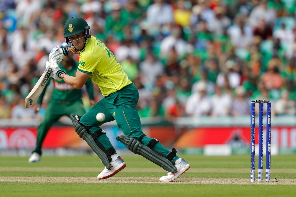 South Africa's David Miller hits a shot during the Cricket World Cup match between South Africa and Bangladesh at the Oval in London, Sunday, June 2, 2019. (AP Photo/Matt Dunham)