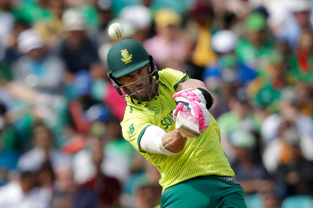 South Africa's captain Faf du Plessis hits a six during the Cricket World Cup match between South Africa and Bangladesh at the Oval in London, Sunday, June 2, 2019. (AP Photo/Matt Dunham)