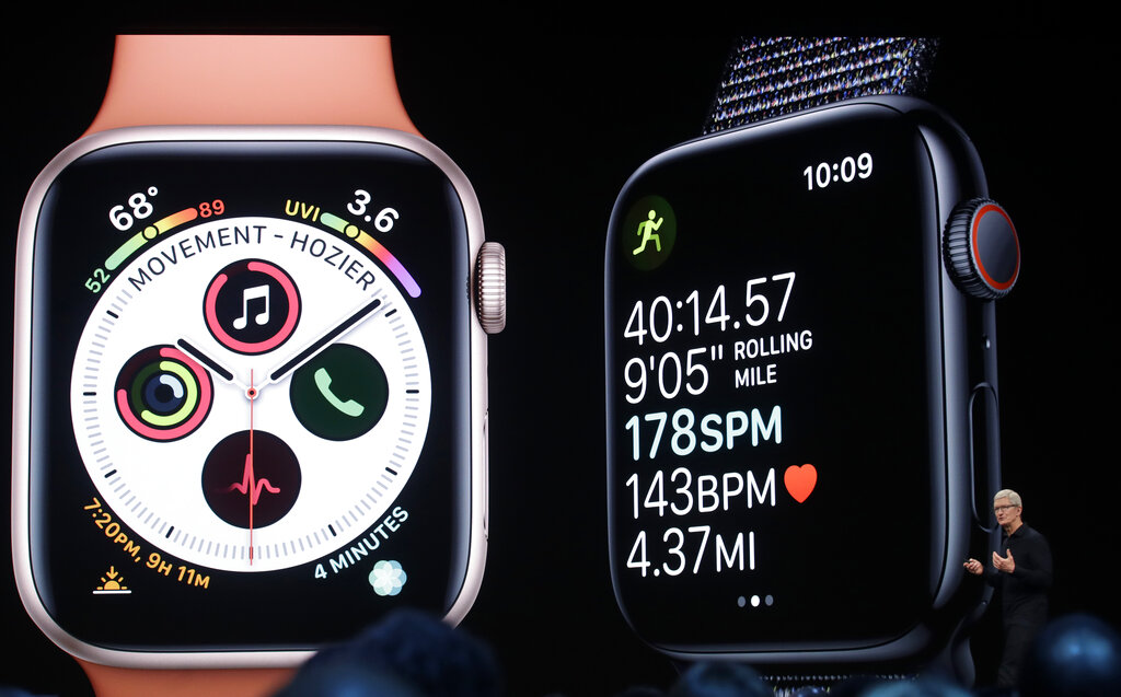 Apple CEO Tim Cook speaks about Apple Watch at the Apple Worldwide Developers Conference in San Jose, Calif., Monday, June 3, 2019. (AP Photo/Jeff Chiu)