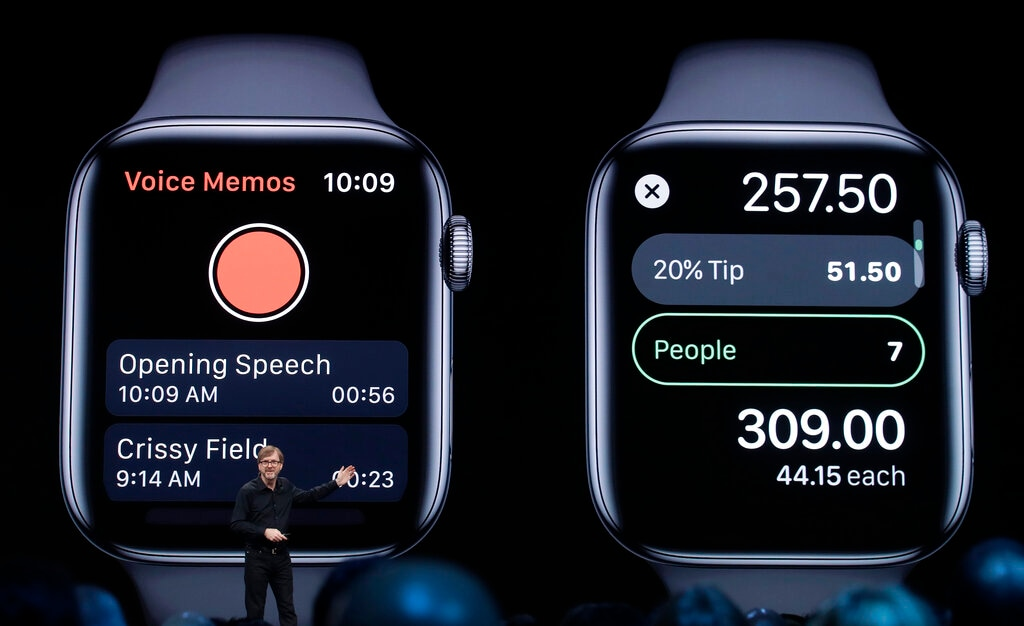 Apple's Kevin Lynch talks about the Apple Watch at the Apple Worldwide Developers Conference in San Jose, Calif., Monday, June 3, 2019. Apple also unveiled several new apps for its smartwatch, including independent apps that don't rely on the iPhone in another sign of the company's determination to lessen its dependence on that product. (AP Photo/Jeff Chiu)