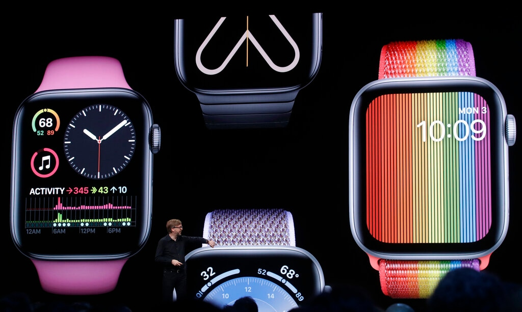 Apple's Kevin Lynch speaks on Apple Watch at the Apple Worldwide Developers Conference in San Jose, Calif., Monday, June 3, 2019. (AP Photo/Jeff Chiu)