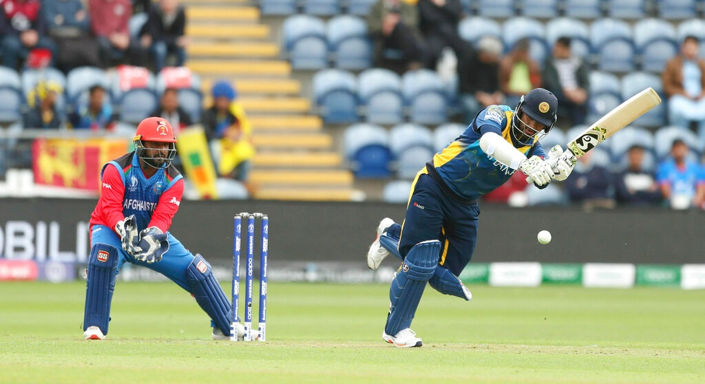 Sri Lanka's Dimuth Karunaratne during the Cricket World Cup group stage match against Afghanistan at the Cardiff Stadium, Wales, Tuesday, June 4, 2019. (David Davies/PA via AP)