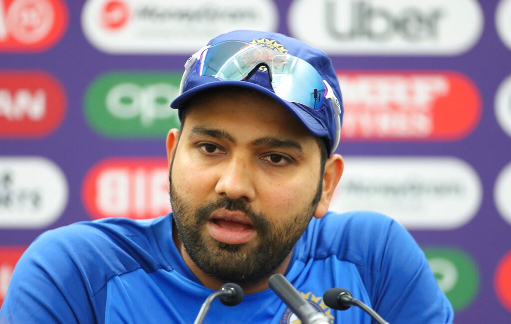 India's Rohit Sharma speaks during a press conference ahead of their Cricket World Cup match against Australia. (AP Photo/Aijaz Rahi)