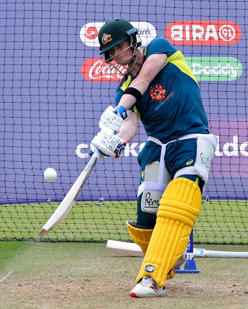 Australia's Steve Smith bats in the nets during a training session ahead of their Cricket World Cup match against India. (AP Photo/Aijaz Rahi)