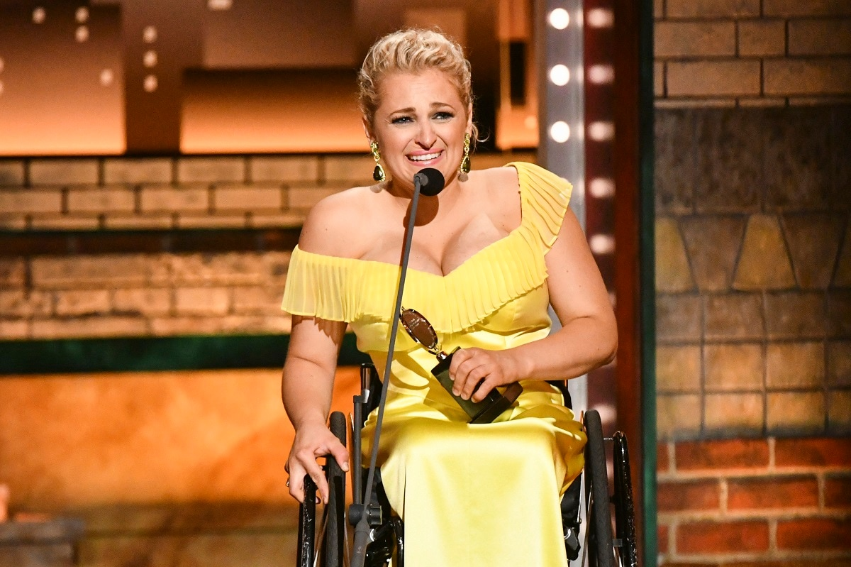 Ali Stroker accepts the award for best performance by an actress in a featured role in a musical for
