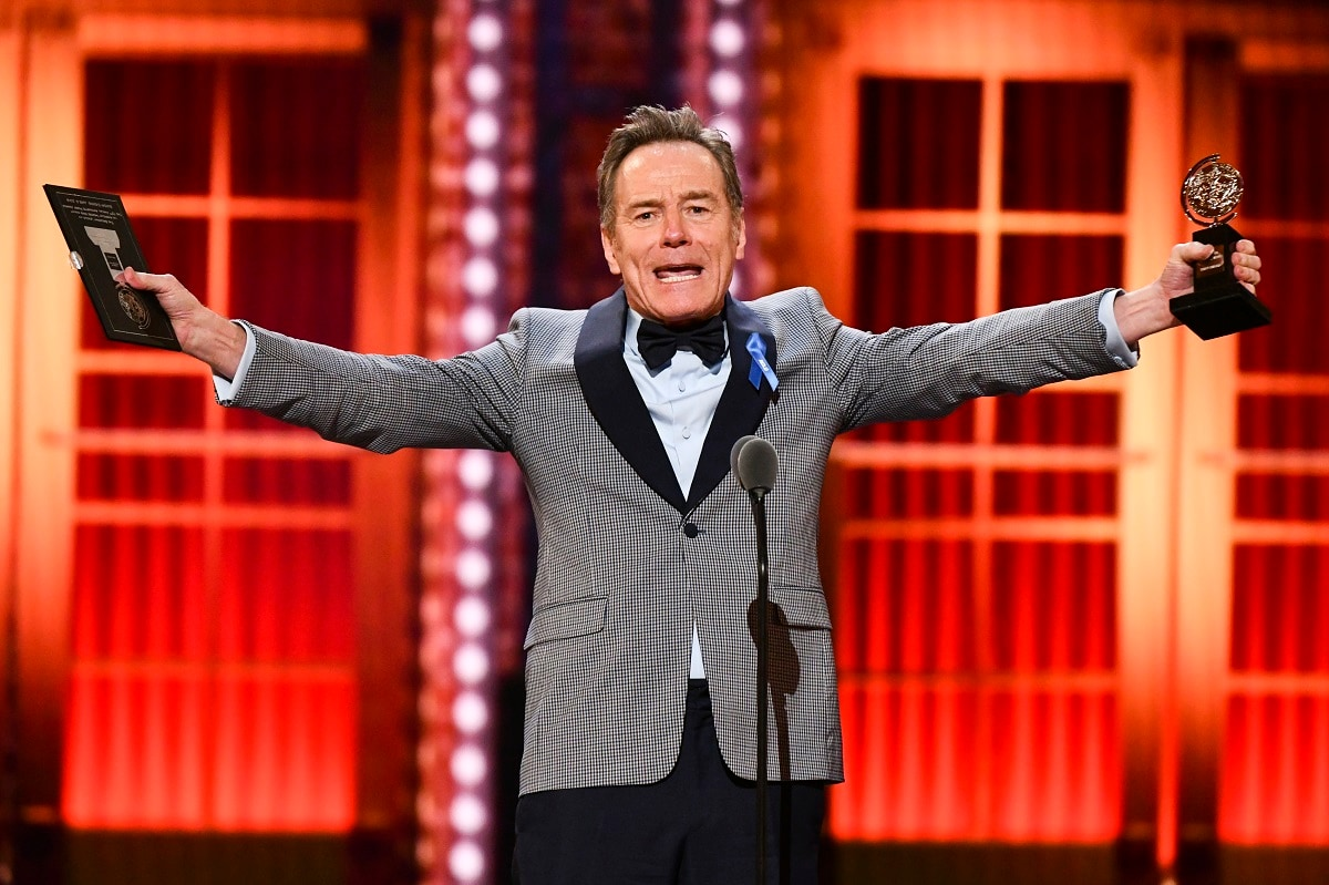 Bryan Cranston accepts the award for best performance by an actor in a leading role in a play for
