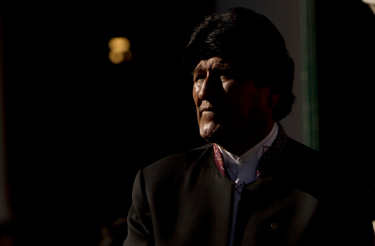 Bolivia's President Evo Morales listens to Paraguay's President Mario Abdo Benitez during a ceremony of commemoration of the 84th anniversary of the end of the Chaco War 1932-1935, before a Binational Cabinet session, in La Paz, Bolivia. (AP Photo/Juan Karita)