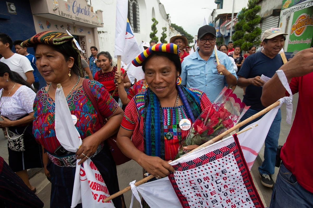 Thelma Cabrera, presidential candidate of the Movement for the Liberation of the People, MLP, campaigns in Palin, Guatemala. Guatemala will hold general elections on June 16. (AP Photo/Moises Castillo)