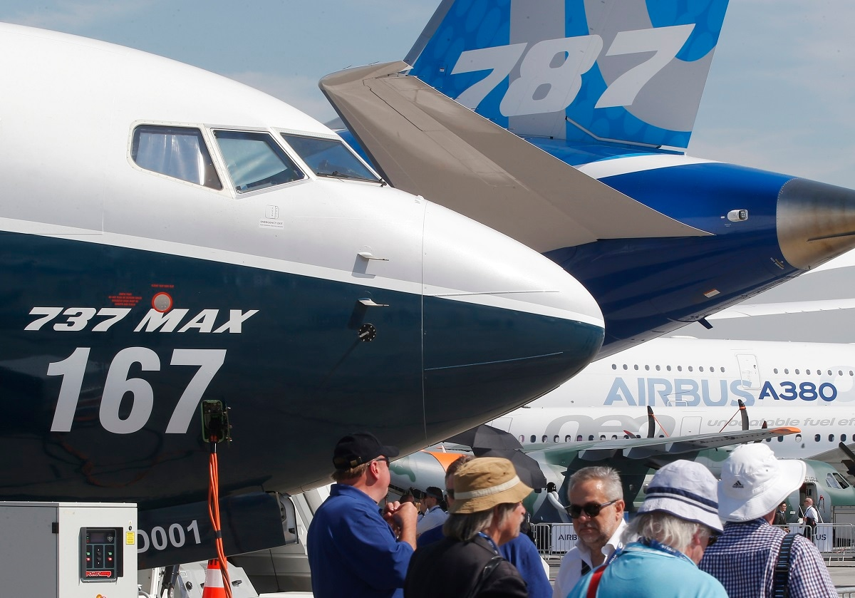 Boeing planes displayed at Paris Air Show, in Le Bourget, east of Paris, France. AP Photo/Michel Euler, File