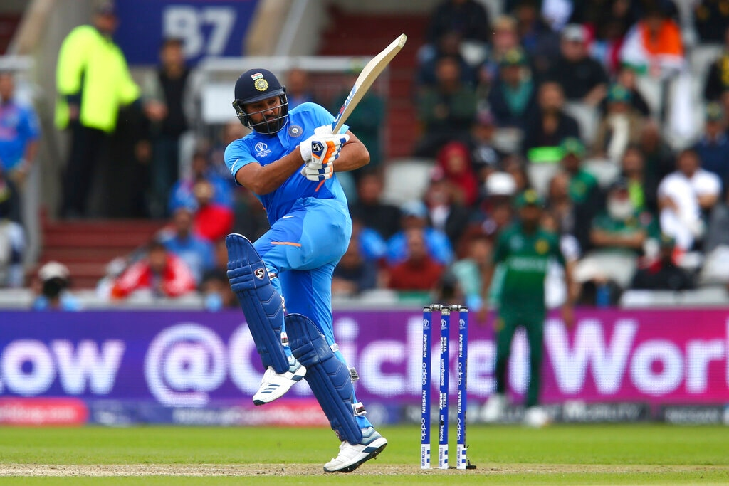 Rohit Sharma plays a shot against Pakistan on way to his century in Manchester. (AP Photo/Dave Thompson)