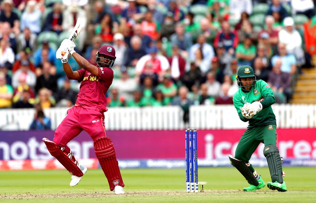 West Indies' Evin Lewis bats during the Cricket World Cup match between West Indies and Bangladesh at The Taunton County Ground, Taunton, south west England, Monday June 17, 2019. (David Davies/PA via AP)