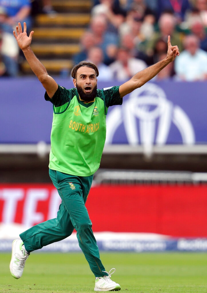 South Africa's bowler Imran Tahir unsuccessful appeals for a wicket against New Zealand's captain Kane Williamson during the Cricket World Cup match between New Zealand and South Africa at the Edgbaston Stadium in Birmingham, Wednesday, June 19, 2019. (AP Photo/Rui Vieira)