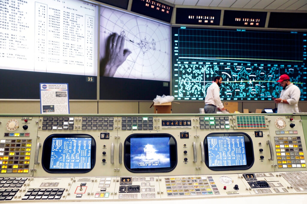 The console for Booster Systems Engineer, the first position on the first row known as