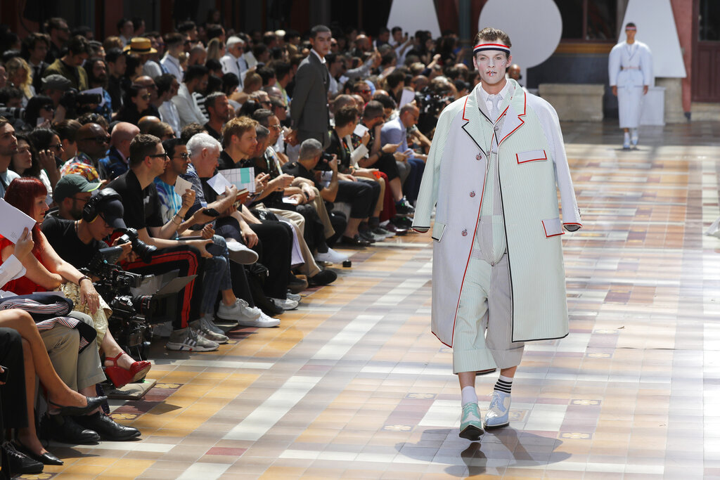 A model wears a creation for the Thom Browne mens Spring-Summer 2020 fashion collection presented in Paris. (AP Photo/Michel Euler)