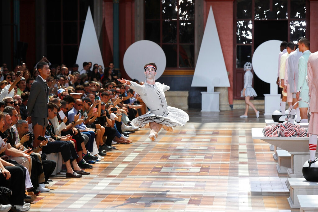 A dancer performs at the Thom Browne mens Spring-Summer 2020 fashion collection presented in Paris. (AP Photo/Michel Euler)