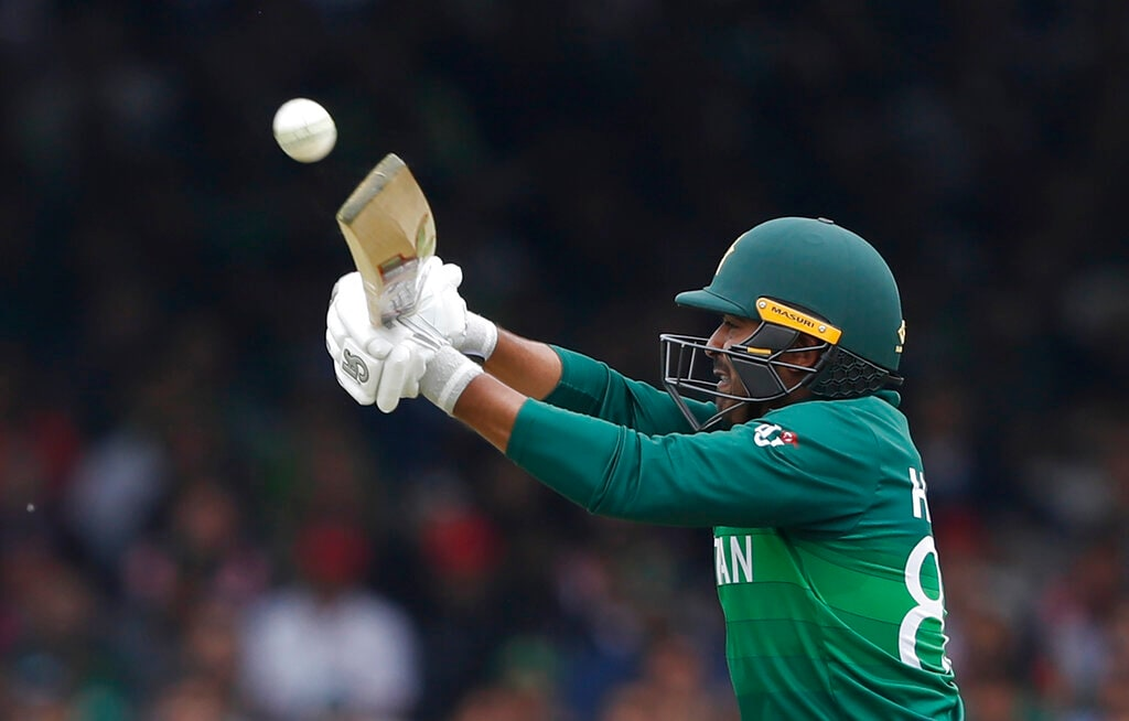 Pakistan's Haris Sohail hits 4 runs off the bowling of South Africa's Chris Morris during their Cricket World Cup match between Pakistan and South Africa at Lord's cricket ground in London, Sunday, June 23, 2019. (AP Photo/Alastair Grant)