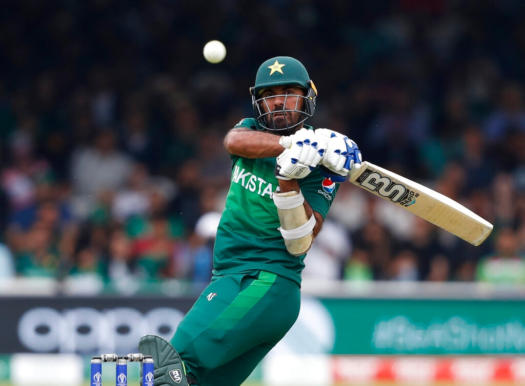 Pakistan's Wahab Riaz plays a shot off the bowling of South Africa's Kagiso Rabada during their Cricket World Cup match between Pakistan and South Africa at Lord's cricket ground in London, Sunday, June 23, 2019. (AP Photo/Alastair Grant)