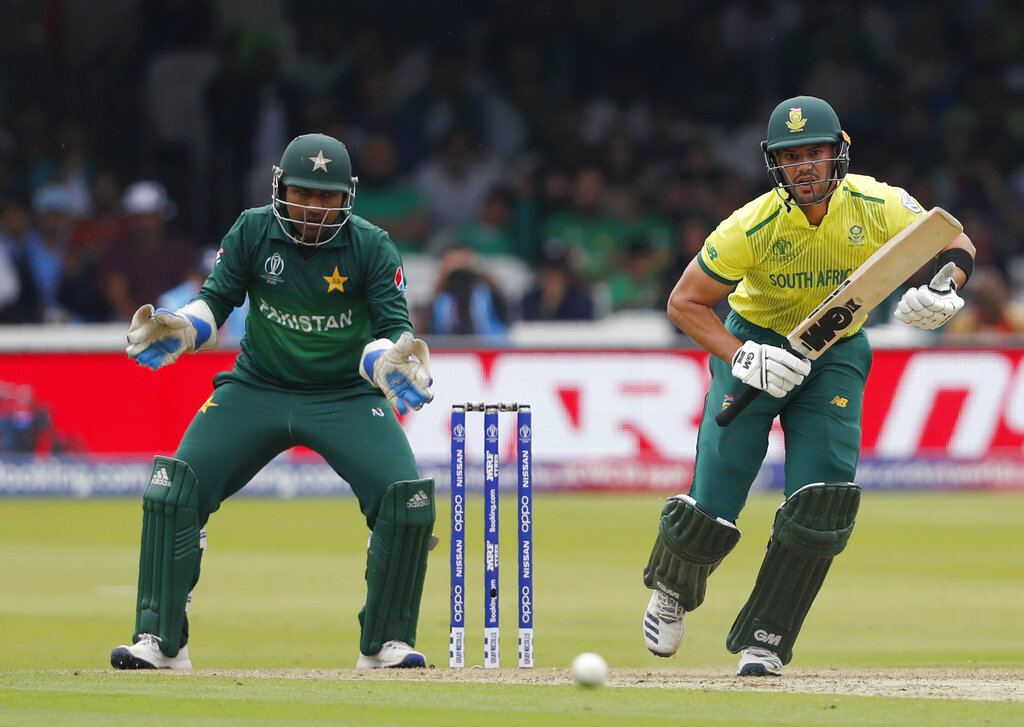 South Africa's Aiden Markram plays a shot off the bowling Pakistan's Shadab Khan during their Cricket World Cup match between Pakistan and South Africa at Lord's cricket ground in London, Sunday, June 23, 2019. (AP Photo/Alastair Grant)